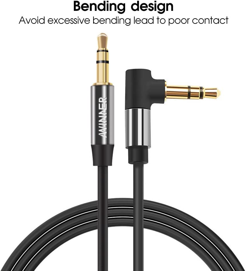 Awinner 3.5mm Auxiliary Stereo Audio Jack to Jack Cable 90 Degree Right Angle 1.5FT