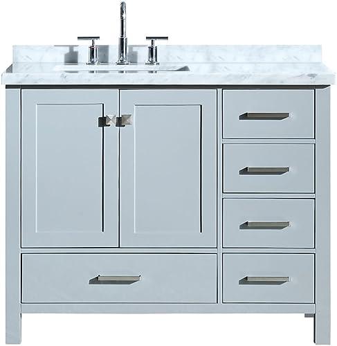 ARIEL Cambridge A043SLCWRVOGRY 43″ Inch Single Left Offset Rectangular Sink Solid Wood Grey Bathroom Vanity