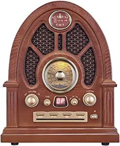 Retro FM Radio, Wooden CD Bluetooth Player, Support AUX U Disk TF Card, with Power Cord and Antenna, Large Dial Double Dual Speakers Stereo Radio