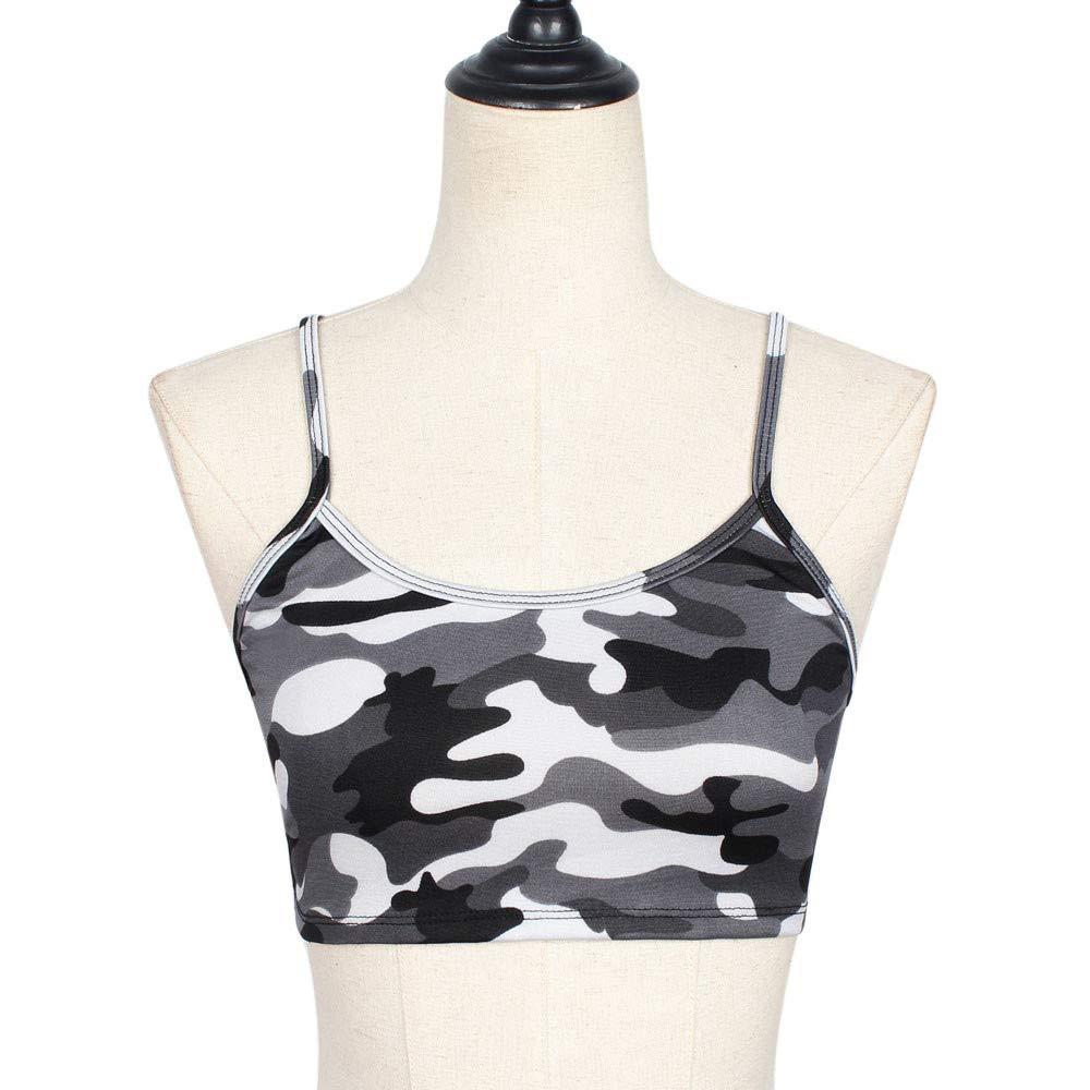 Sanyyanlsy Women Camouflage Tank Top Bustier Bra Vest Crop Top Blouse O-Neck T Shirt