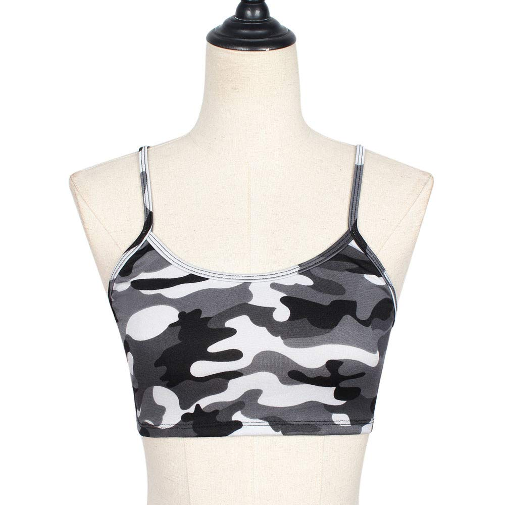 Women's Yoga Sports Tank-Top and Bra with Removable Pads Camouflage Print Workout Crop Top