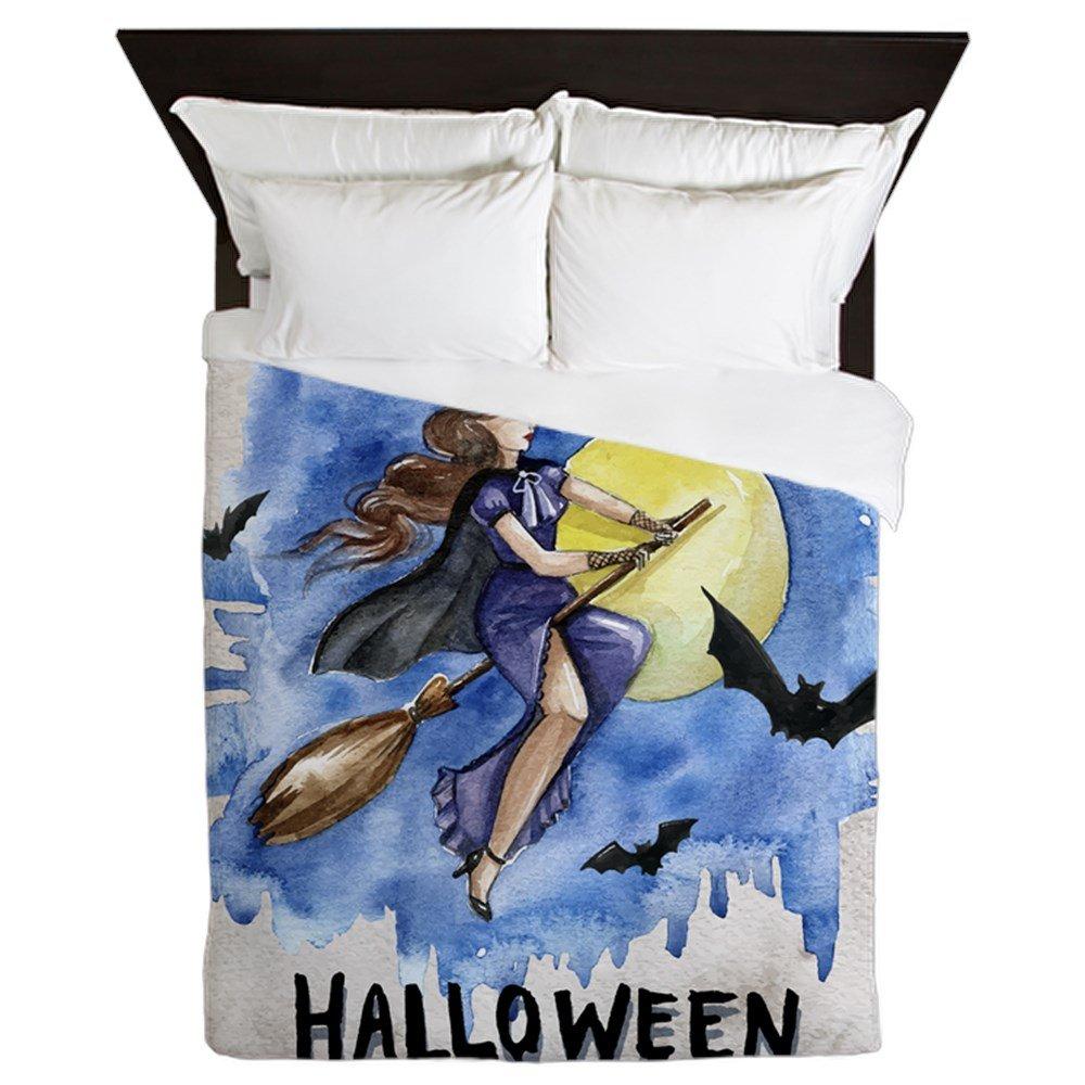Queen Duvet Cover Halloween Witch Riding Broom Bats