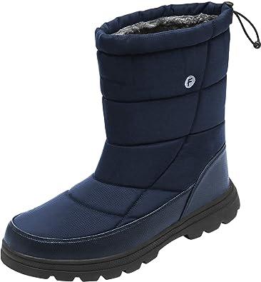 01fec5cd149b JOINFREE Womens Winter Snow Boots Warm Fur Waterproof Mid Calf Lightweight  Anti-Slip Navy Women