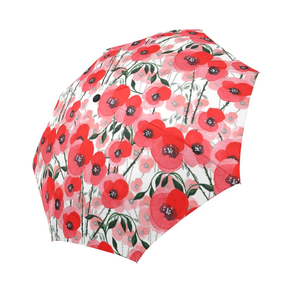 InterestPrint Poppies Blossom Windproof Automatic Open And Close Foldable Umbrella,Girly Flower Travel Compact Unbreakable Rain And Sun Umbrella,Orange Red