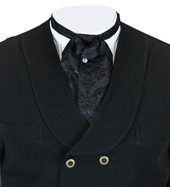 f4ef458aa4b37 Historical Emporium Men s Satin Jacquard Puff Tie Black at Amazon ...