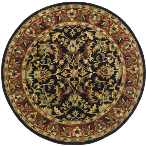 Safavieh Heritage Collection HG953A Handcrafted Traditional Oriental Black and Red Wool Round Area Rug (8' Diameter) ()