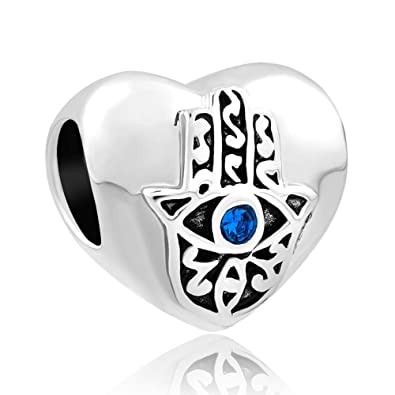 Luckyclover Jewellery Hamsa Hand Blue Evil Eye Charm Fit Pandora