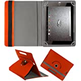 Fastway Rotating 360° Leather Flip Case For Micromax Canvas Plex Tab 8 Inch Orange