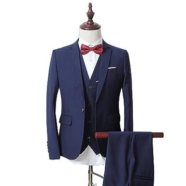 3 Pièce Costume Un Boutons Mode Slim fit Smoking Business Mariage (Blue 07fa14f1d92