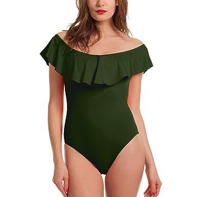 f13ece4b8 Subtle Flavor Women's Sexy Off Shoulder Ruffle One-Piece Swimsuit Monokini Bikini  Bathing Suit,