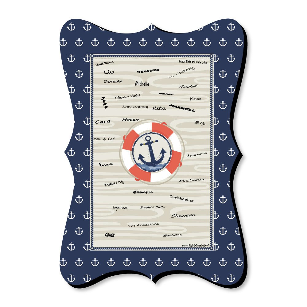 Ahoy - Nautical - Unique Alternative Guest Book - Baby Shower or Birthday Party Signature Mat by Big Dot of Happiness