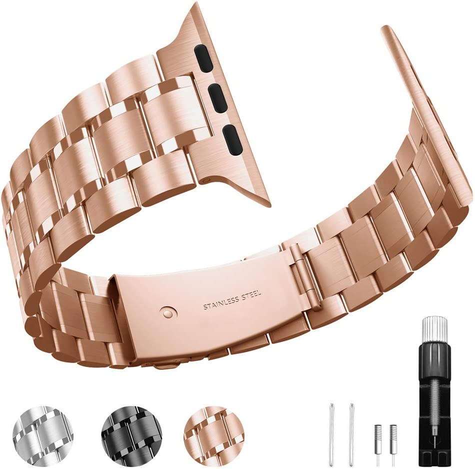 Stainless steel bands replacement strap adjustable strap compatible with apple watch 6 / 5 / 4 / 3 / 2 / 1 Series (Rose gold, 38mm,40mm)