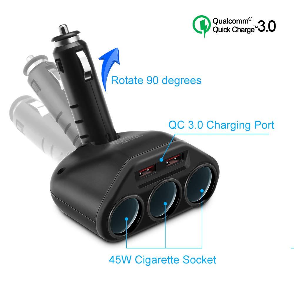 Rocketek Cargador de Coche USB, Dual QC3.0 USB con Divisor...