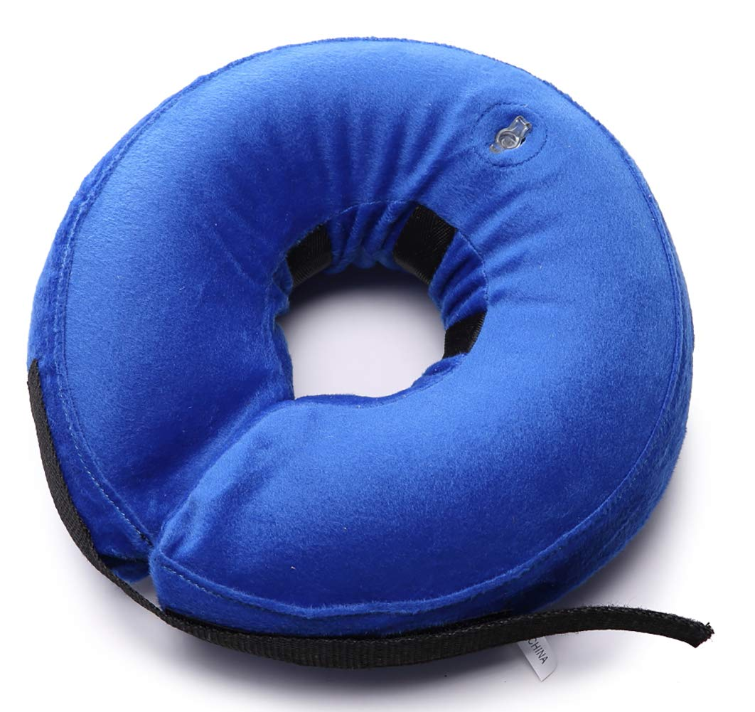 MaruPet Dog Cone Pet Recovery Collars Inflatable-Protective Neck Pillow Soft Protection Hat After Surgery Alternative Remedy Traction Comfy Velcro Head Duty Veterinary Blue M