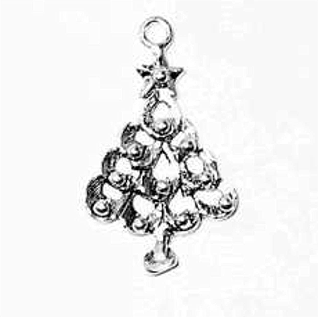 Sterling Silver Christmas Tree With Ball Ornaments And Star Dangle Charm Bead For Bead Bracelet