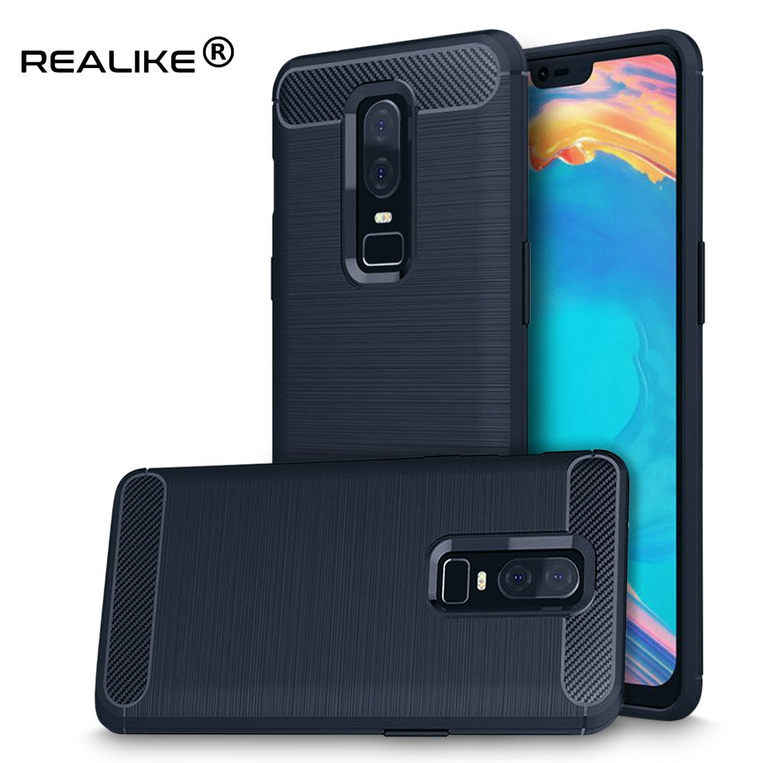 sports shoes d4699 d37e5 REALIKE® OnePlus 6 Back Cover, Beetle Series Hybrid Protective Frost Clear  Case for Oneplus Six (OnePlus 6, Carbon Blue)