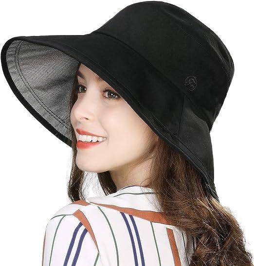 New Women/'s Girls Large Wide Brim Beach Sun Hat Sumer Travel Bucket Hat Cap