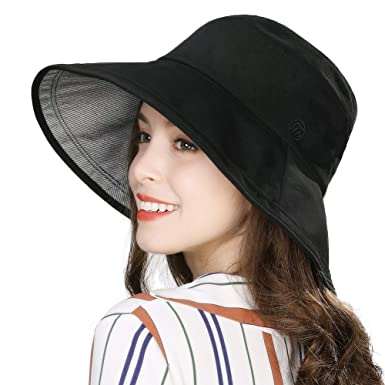 c3581fa9 Summer Beach Bucket Hat for Women Sun UV Protection Travel Hiking Brim  Fashion Fishing Hunting Chin