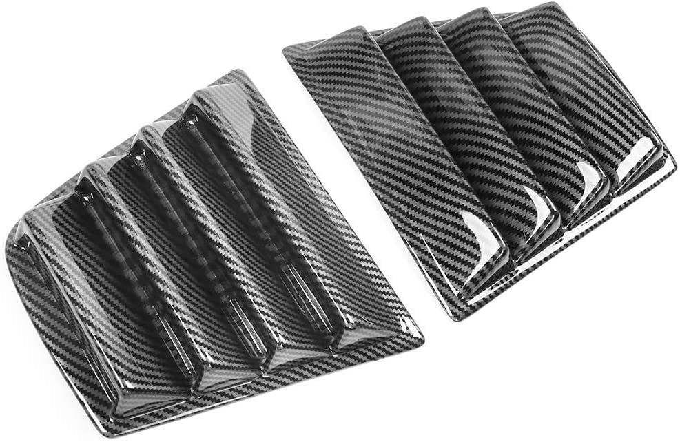 IKON MOTORSPORTS V1 Style Carbon Fiber Print PP Window Vents Guards Window Louver Compatible With 2011-2020 Dodge Charger 2012 2013 2014 2015 2016 2017 2018 2019