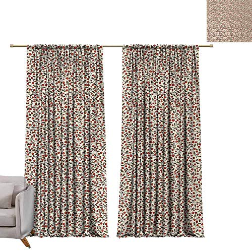 (DuckBaby Half Blackout Curtains Floral Abstract Arrangement of Plants with Berries and Leaves Doodle Pattern Soft Texture W96 xL84 Green Brown Ruby Beige)