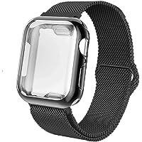 INZAKI Cinturino con Protettiva Cover per Apple Watch 38mm 40mm 42mm 44mm, Rete di Acciaio Inossidabile Milanese Cinturino con Custodia Protezione per iWatch Serie 4/3 / 2/1, Sport, Edition
