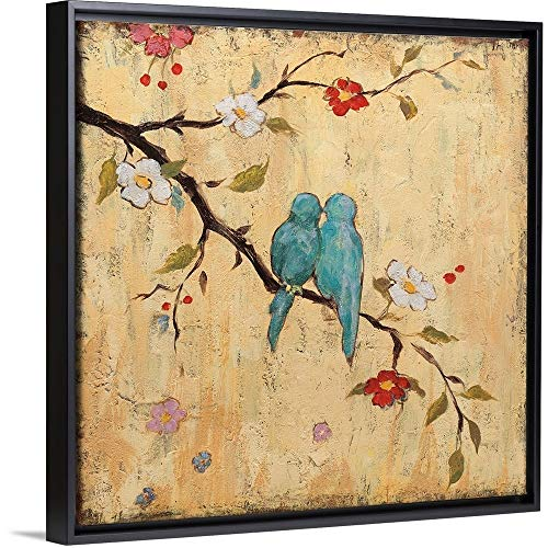 - Katy Frances Floating Frame Premium Canvas with Black Frame Wall Art Print Entitled Love Birds II 12