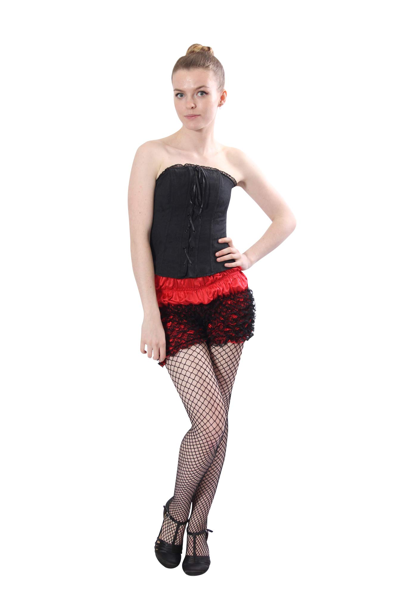 Malco Modes Womens Sexy Ruffle Panties Tanga Dance Bloomers Sissy Booty Shorts (Black/Red, X-Large) by Malco Modes