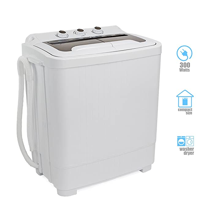 Portable Compact Washer and Spin Dry Cycle with Built in Pump 300W Apartment Washer Spinning Dryer