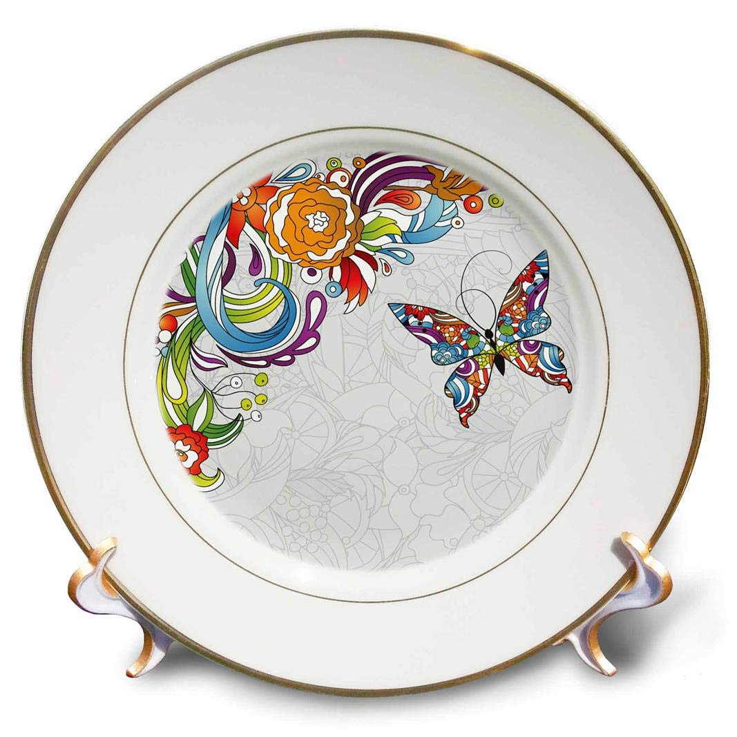 Porcelain Plate 8 3dRose cp/_236047/_1 Colorful Zentangle Butterfly with A Zentangle Corner Accent