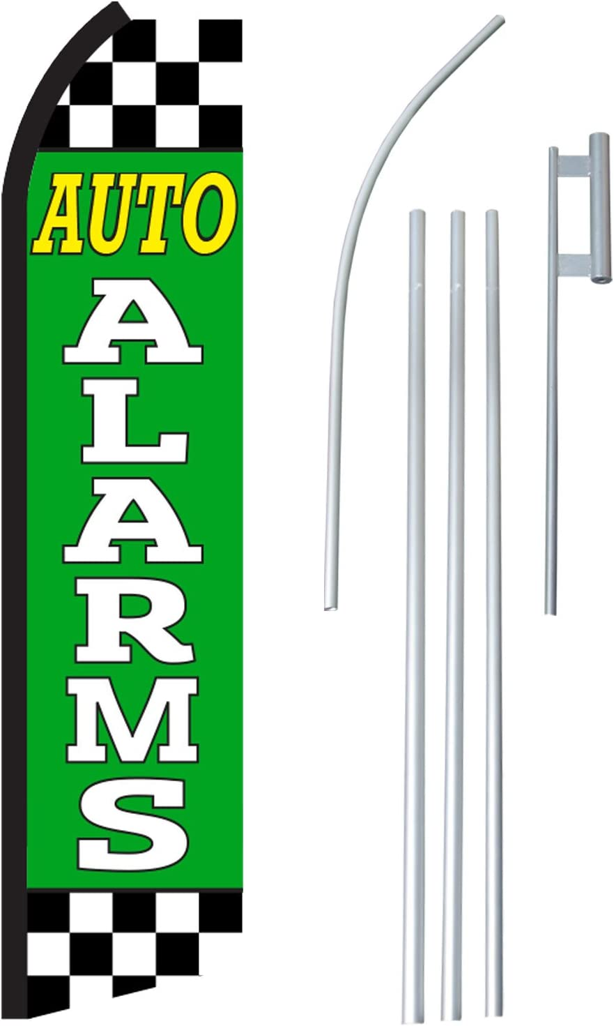 Auto Alarms Complete Flag Kit NEOPlex Includes 12 Swooper Feather Business Flag With 15-foot Anodized Aluminum Flagpole AND Ground Spike