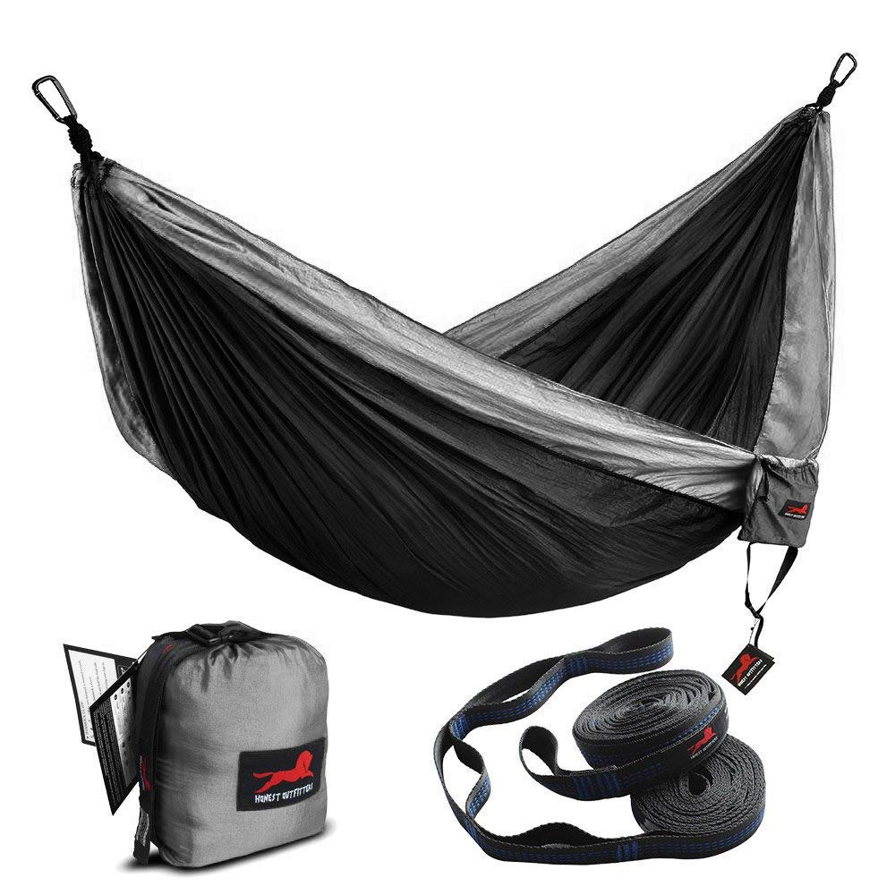 HONEST OUTFITTERS Double Camping Hammock with Hammock Tree Straps,Portable Parachute Nylon Hammock for Backpacking Travel 78'' W x 118'' L Black/Grey