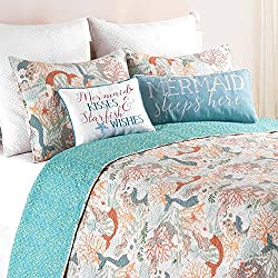 3pc Blue White Coastal Full Queen Quilt Set, Corals Lake Sea Life Shells Ocean Mermaid Pattern Orange Mermaids Beachy Fairy tale, Nautical Beach House Theme Bedding, Cotton