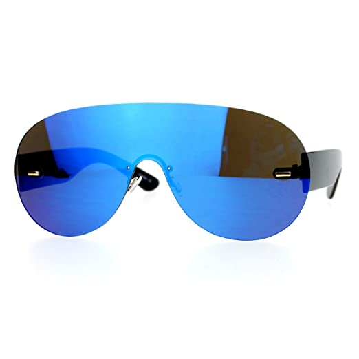 fad838c9b1c Amazon.com  Blue Mirror Flat Lens Rimless Sunglasses Oversized Racer ...