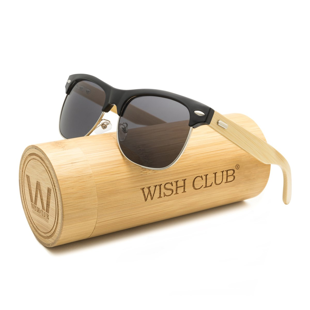 WISH CLUB Wood Clubmaster Sunglasses for Men with UV 400 Square Handmade with Bamboo Box (Grey)