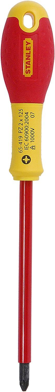 30 mm Schwertl/änge, Chrom-Vanadium, ergonomischer SoftGrip Handgriff Stanley FatMax Schraubendreher Pozidriv PZ1 1-65-408