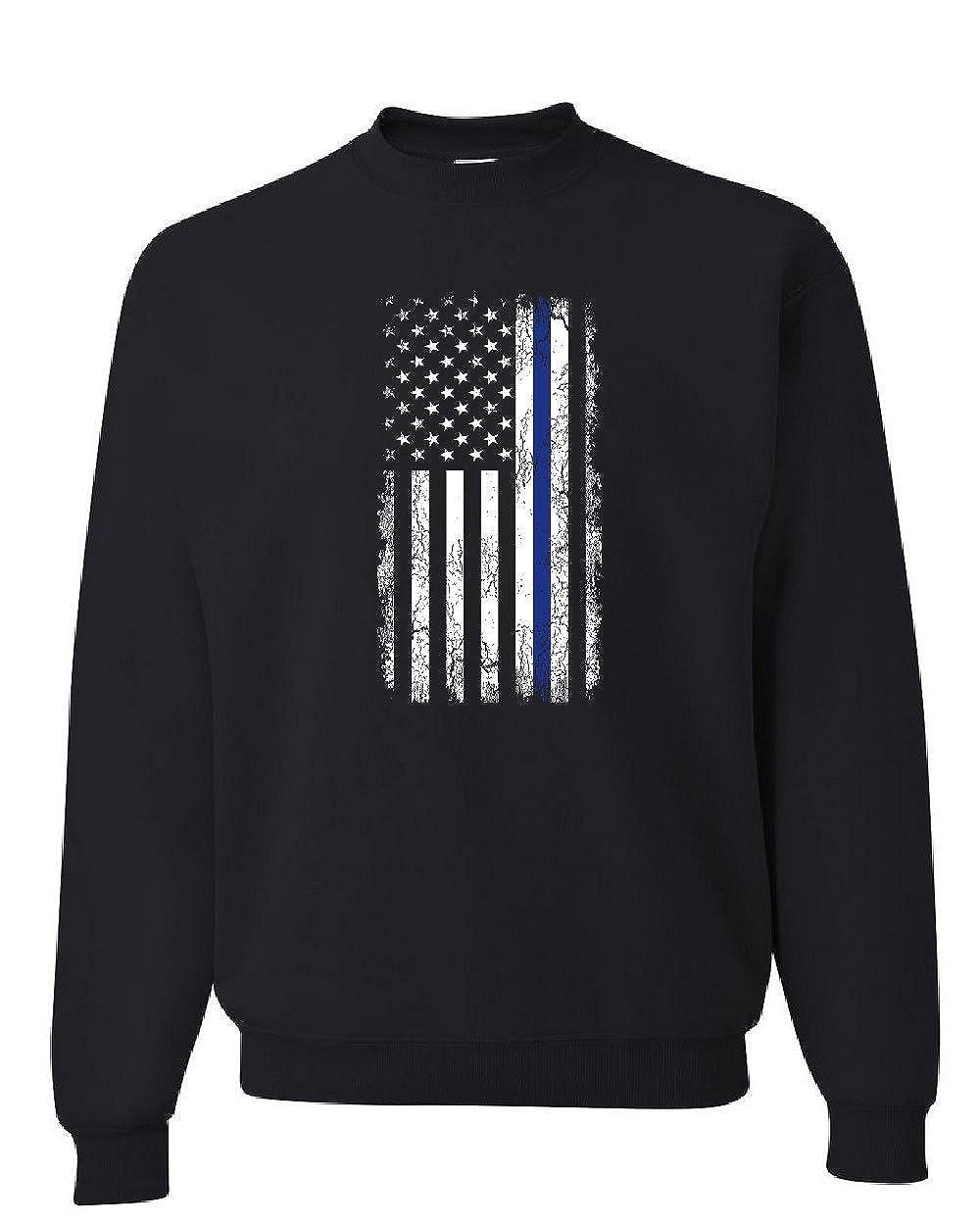 Tee Hunt Thin Blue Line American Flag Sweatshirt Stars and Stripes Police Sweater