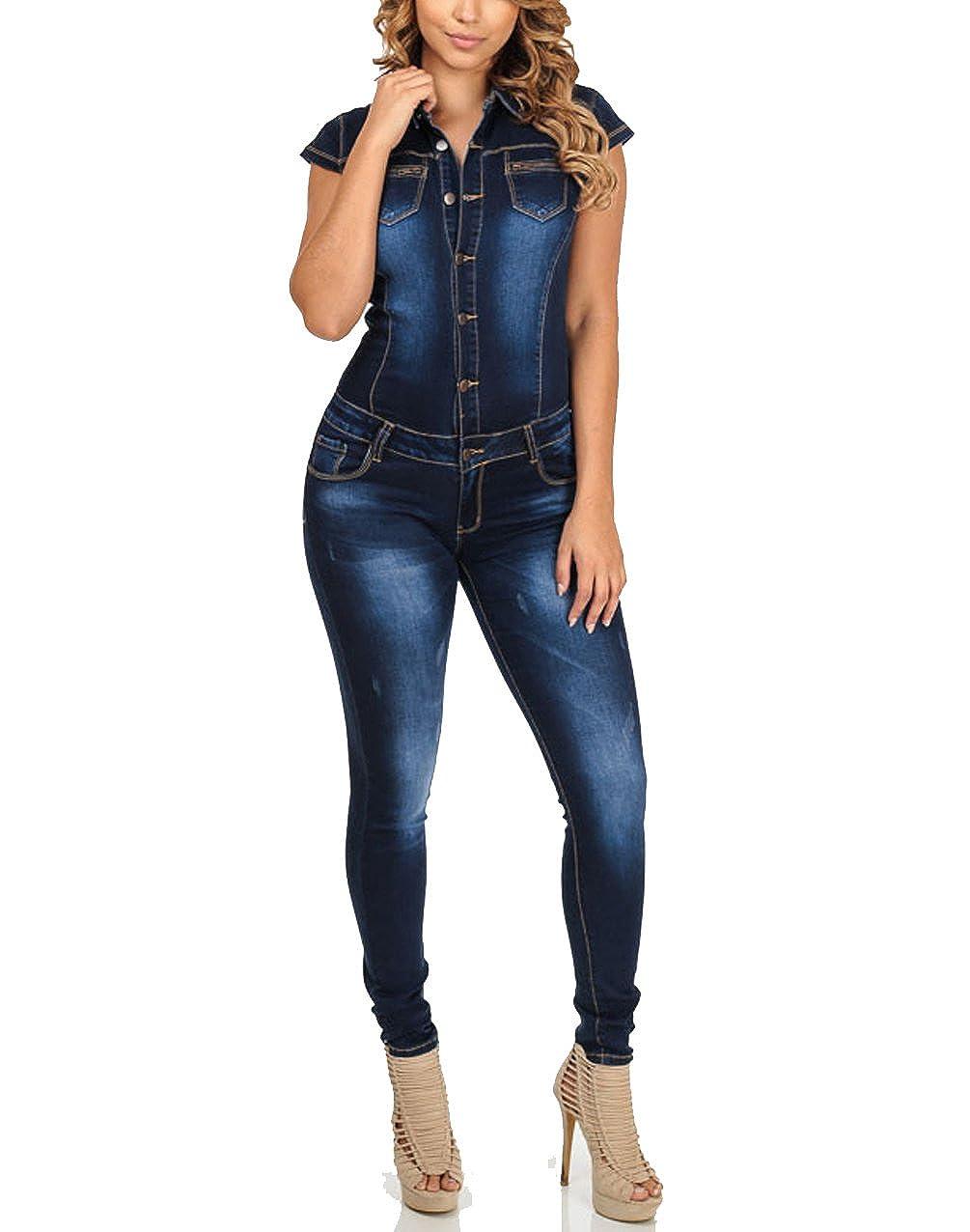 TALLA L. Nuevo Caliente Vaqueros de Mujeres Slim Rompers Bodysuit Pantalones Jeans Monos Pantalones Jumpsuits Para Fiestas de Cóctel,Mujer De Vestir Vaqueros Largos Verano Elegantes Sin Mangas Vaqueros