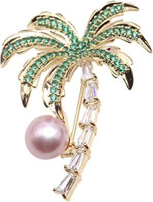 JYX Golden-tone Lavender Freshwater Pearl Brooches Pins Rhinestone-inlayed