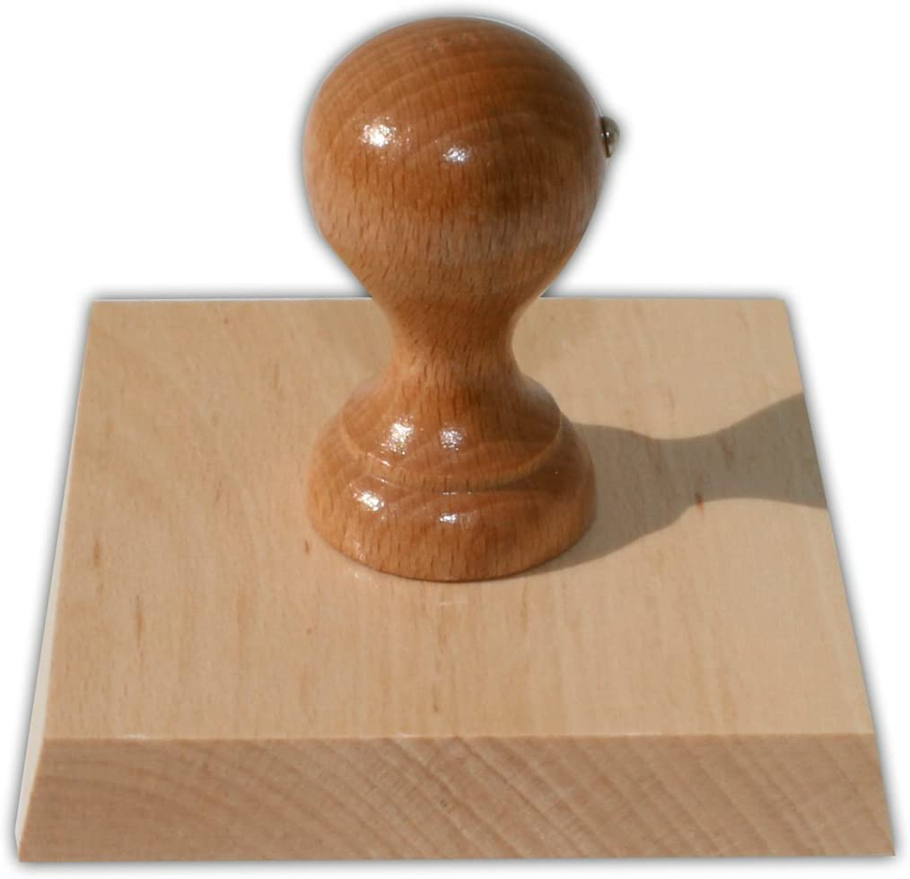 Timbro in legno con piastra di timbro personalizzata quadrato timbro per testo per indirizzi 80 x 80 mm loghi o testi timbro per indirizzi timbro aziendale