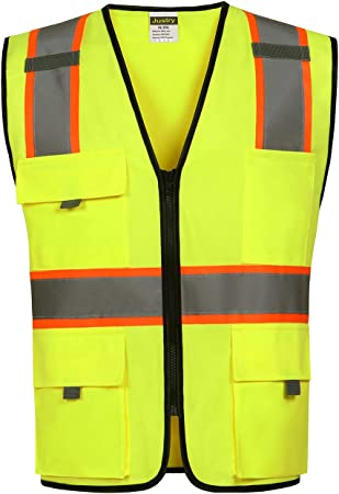 Yellow Meets ANSI//ISEA Standards Size:3XL//4XL Justry Safety Pockets Class 2 High Visibility Zipper Front Safety Vest With Reflective Strips