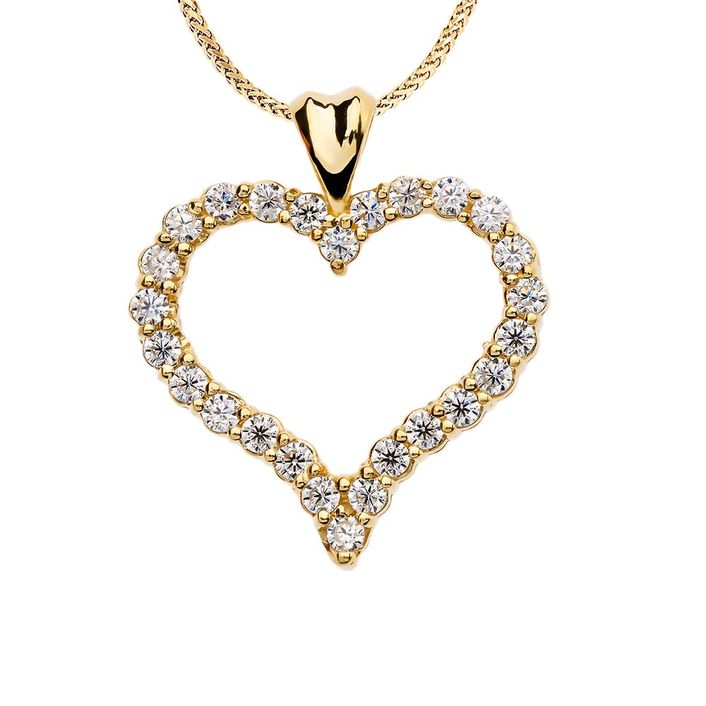 1 Carat Diamond Heart Pendant Necklace in 14k Yellow Gold, 22''