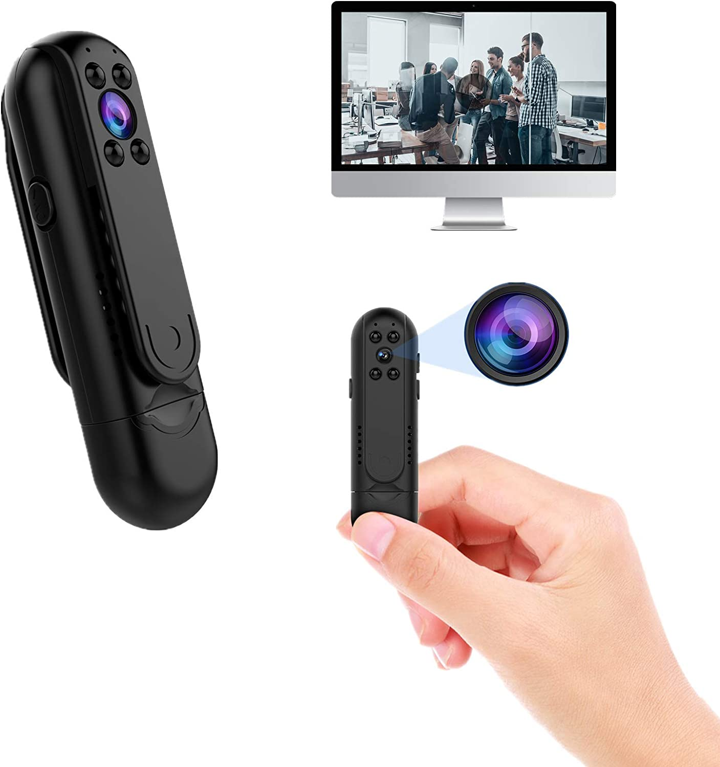 Mini Body Camera 1080P HD Portable Small Security Video Recorder Tiny Covert Nanny Cam Without WiFi Cop Cam Night Visionwith Clips for Home, Office, Business, Meeting, Interview