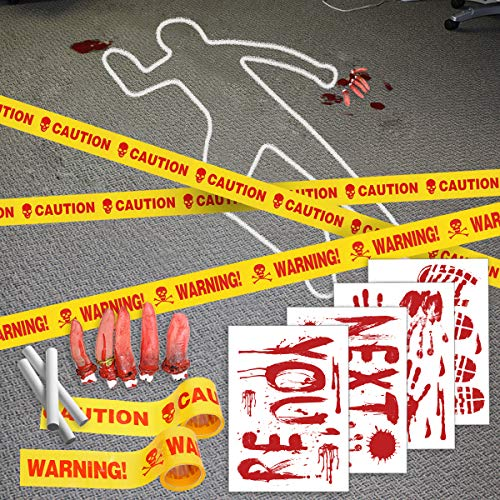 Pawliss Halloween Crime Scene Party Decorations 14 Pack Kit, Haunted House Bloody Zombie Decor, Caution Tape, Body Silhouette, Bloody Handprints Footprints Wall Decals Window ()
