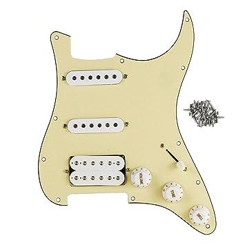 FLEOR Golpeador precableado para guitarra SSH Set para Fender Strat Guitarra eléctrica partes, 3ply, cream: Amazon.es: Instrumentos musicales