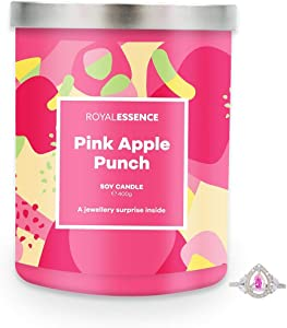 Royal Essence Pink Apple Punch Jewellery Candle (Surprise 925 Sterling Silver Jewellery Valued at $50 to $3,000) 90-100 Hours Burn Time, Necklace
