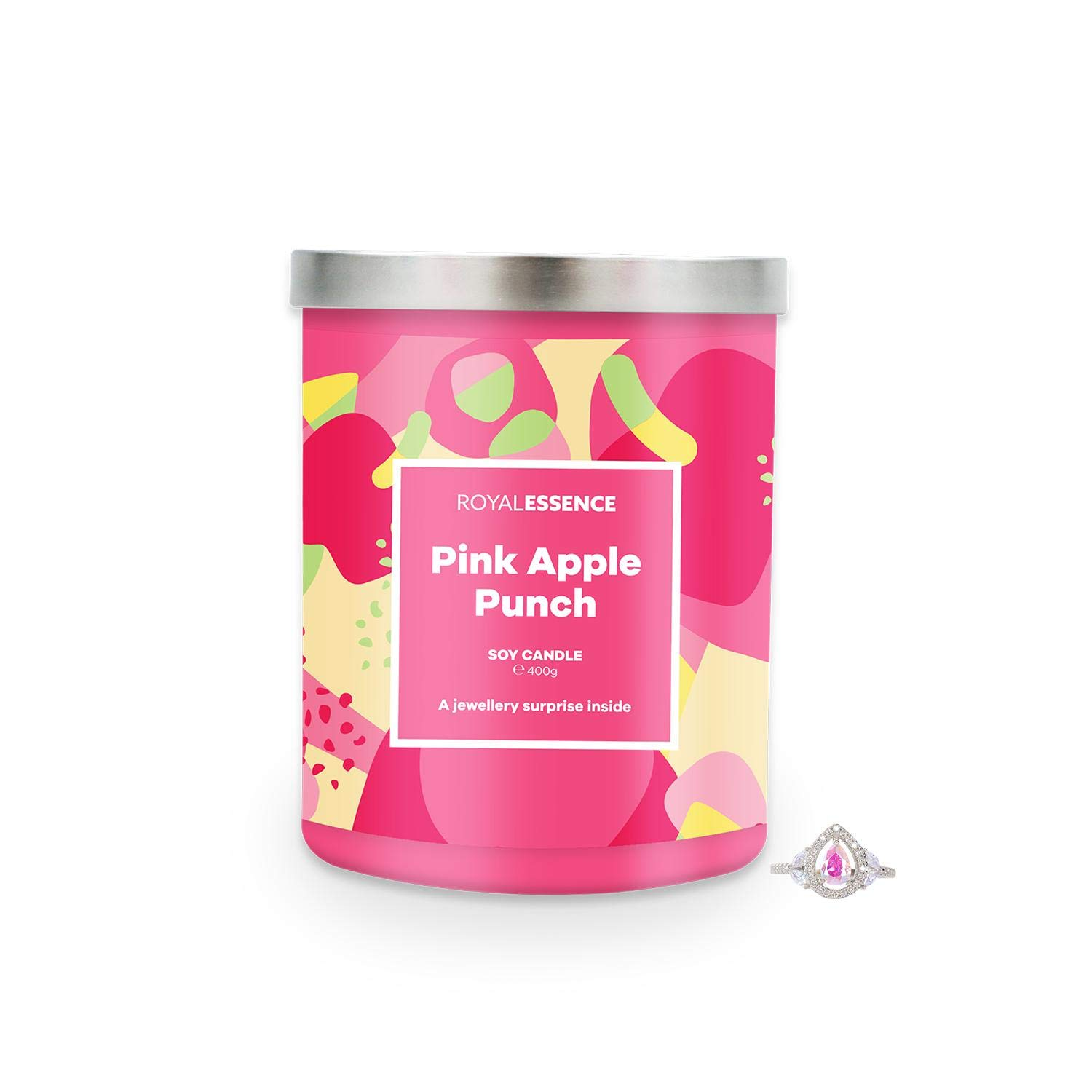 Royal Essence Pink Apple Punch Jewellery Candle (Surprise 925 Sterling Silver Jewellery Valued at $50 to $3,000) 90-100 Hours Burn Time, Ring Size 7