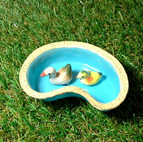Mini Mandarin duck and duckling with Pond for Mini Garden Decoration