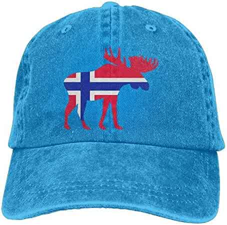 4d1ad244e0213 shobestag 2018 Adult Fashion Cotton Denim Baseball Cap Moose with Norway  Flag Classic Dad Hat Adjustable