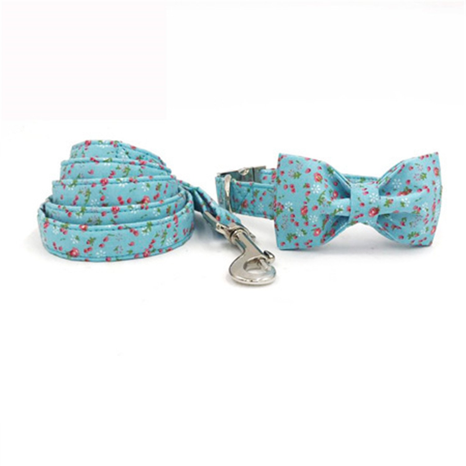 Collar bow and leash L collar bow and leash L Surprising Day The Bule Dog Collar and Lead Set with Bow tie Cotton Dog &cat Necklace and Dog Leash for pet Supplies Collar Bow and Leash L