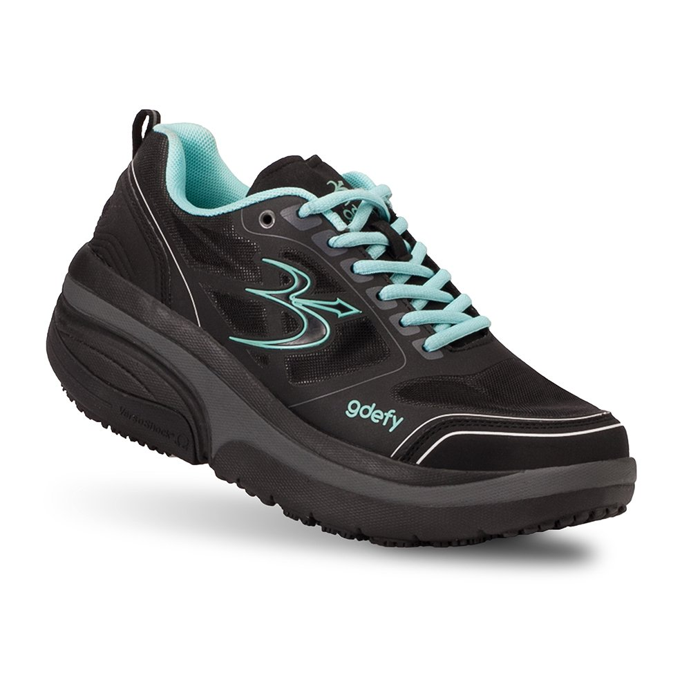 Gravity Defyer Proven Pain Relief Women's G-Defy Ion Athletic Shoes Great for Plantar Fasciitis, Heel Pain, Knee Pain B074W9ZQW5 7.5 E US|Black, Blue